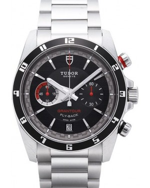 Tudor Grantour Chrono Fly Back Black Dial Steel Strap Mens 20550N-95730black