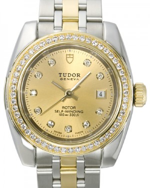 Tudor Classic Date Champagne Dial Yellow Gold Strap Ladies 22023-1