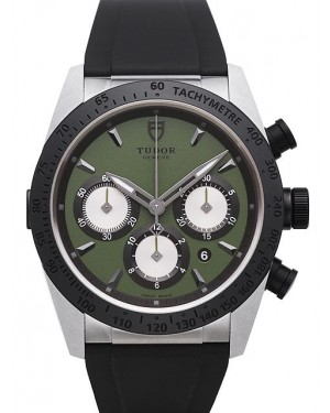 Tudor Fastrider Chronograph Green Dial Rubber Strap Mens 42010N-2