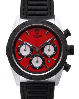 Tudor Fastrider Chronograph Red Dial Calfskin Strap Mens 42010N-1