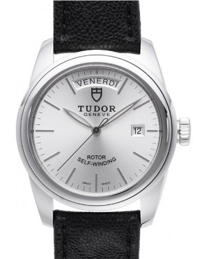 Tudor Glamour Date Day Silver Dial Leather Strap Mens 56000-5