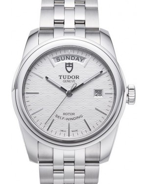 Tudor Glamour Date Day Silver Dial Steel Strap Mens 56000-6