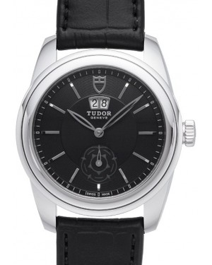 Tudor Glamour Double Date Black Dial Folding Clasp Mens 57000-1