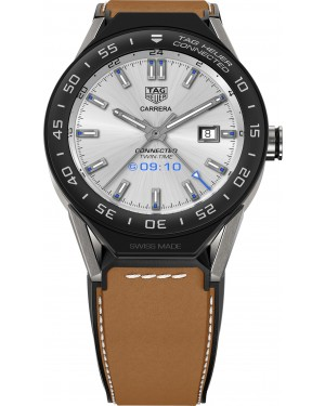 Tag Heuer Connected Modular 45mm Brown Calfskin Strap Black Mat Ceramic Bezel SBF8A8001.11FT6110