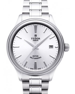 Tudor Style 38mm Silver Dial Steel Strap Mens 12500