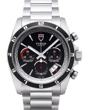 Tudor Grantour Chrono Bay Black Dial Steel Strap Mens 20530N-1