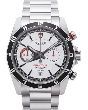 Tudor Grantour Chrono Fly Back White Dial Steel Strap Mens 20550N-95730white
