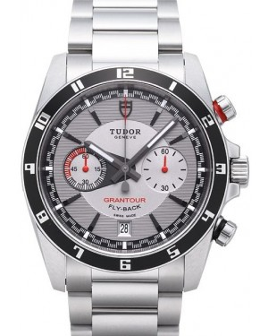 Tudor Grantour Chrono Fly Back Grey Dial Steel Strap Mens 20550N-3
