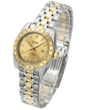 Tudor Classic Date Champagne Dial Steel Yellow Gold Strap Ladies 22013-1