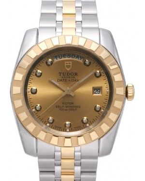 Tudor Classic Date Day 41mm Champagne Dial Steel Yellow Gold Strap 23013-1