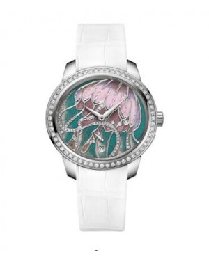Ulysse Nardin Jade Diamonds White Leather Strap Ladies 3100-125B/JELLYFISH