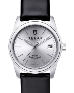 Tudor Glamour Date Silver Dial Leather Strap Ladies 55000-1