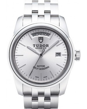 Tudor Glamour Date Day Silver Dial Steel Strap Mens 56000-1