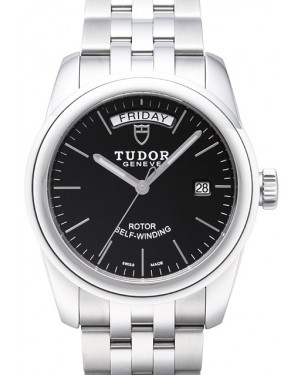 Tudor Glamour Date Day Black Dial Steel Strap Mens 56000-2