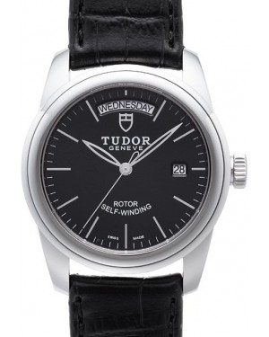 Tudor Glamour Date Day Black Dial Folding Clasp Mens 56000-3