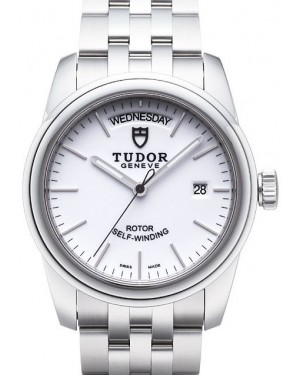 Tudor Glamour Date Day White Dial Steel Strap Mens 56000-4