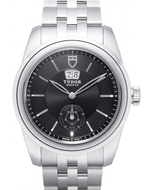 Tudor Glamour Double Date Black Dial Folding Clasp Mens 57000-2