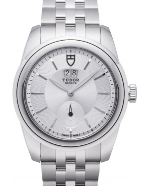 Tudor Glamour Double Date Black Dial Folding Clasp Mens 57000-3