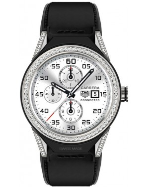Tag Heuer Connected Modular 45mm Black Calfskin Strap Diamond Bezel SBF8A8011.62FT6079