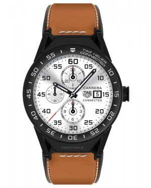 Tag Heuer Connected Modular 45mm Brown Calfskin Strap Black Mat Ceramic Bezel SBF8A8013.82FT6110